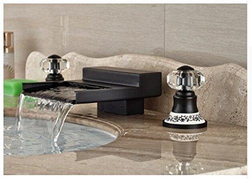Gowe Modern Oil Rubbed Bronze Bathroom Waterfall Basin Faucet Sink Mixer Deck Mount 2 Crystal Handles 3