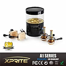 Xprite A1 Series H4 (HB2) (9003) Philips Luxeon LED Headlight Bulbs with Quartz Glass 3K (Amber) 6K (White) 8K (Ice Blue) Temperature Tubes Kit - 120w 12000Lm