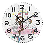 Naanle Cute Cartoon Little Unicorn and Mermaid with Rainbow Cloud Silent Round Wall Clock Decorative, 9.5 Inch Battery Operated Quartz Analog Quiet Desk Clock for Home,Office,School