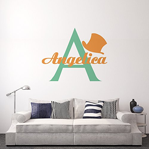 kiskistonite Wall Decal Stickers Hat Angelica Letter A Custom Vinyl Removable Home Bedroom Nursery Living Room Kitchen Wall Art Decoration Mural Stickers for $<!--$18.99-->