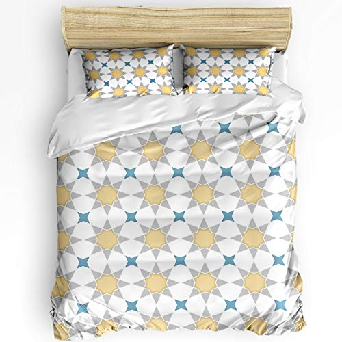 SUN-Shine 3 Pieces Bedding Sets Arabic Style Bedroom Ultra Soft Luxurious Quilt Cover with 2 Pillowcases Durable Duvet Cover Set Queen Size Abstract Geometric Polygon Artwork