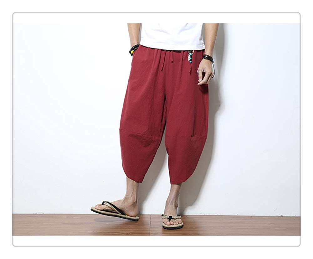 ZLL8 Casual Elastic Waist Linen Capri Wide Leg Baggy Harem Pants Trousers Men