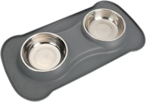 Hoping PET Bowl-No Spill Dog Bowl Non Slip Silicone Mat Dog Water Food Bowl Double Stainless Steel Cat Bowl Dish Puppy Bowl for Cat Dog Feeding
