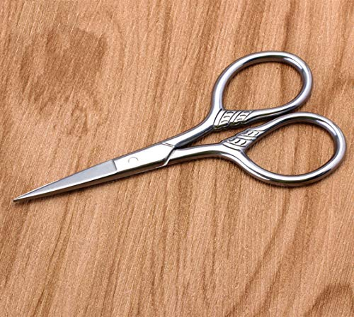 Curved and Rounded Facial Hair Scissors for Men and Lady- Mustache, Nose Hair & Beard Trimming Scissors, Safety Use for Eyebrows, Eyelashes, and Ear Hair – Professional Stainless Steel,2 Piece