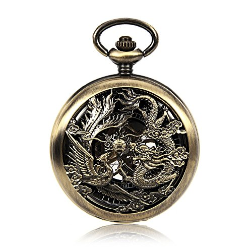 Vintage Chinses Flying Dragon&Phoenix Pendant Bronze Tone Cable Chain Pocket Watch Mechanical Hand Wind Gift Watch w/Chain (Flying Phoenix China)