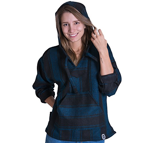 Orizaba Original Baja Hoodie Drug Rug - Black Blue Diamond - La Malinche 3XL
