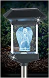 Crystal Light 14'' SOLAR LED MEMORIAL 3D GUARDIAN ANGEL BY JUMBL