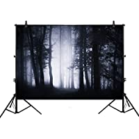 Allenjoy 7x5ft photography backdrop background spooky scary halloween woods fog trees Dark forest landscape props photo Woodland studio booth