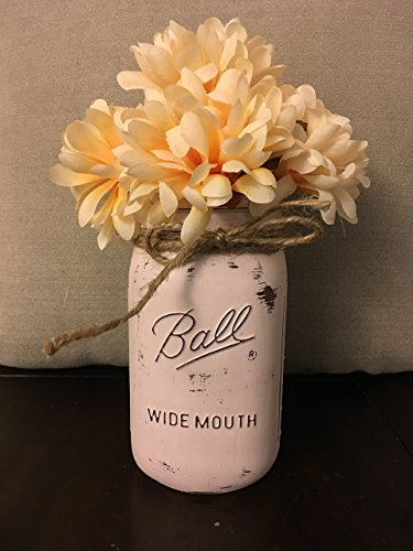 Distressed Blush Pink Chalk Painted Wide Mouth Mason Jar Centerpiece (Size: Quart) (Painted Blush)