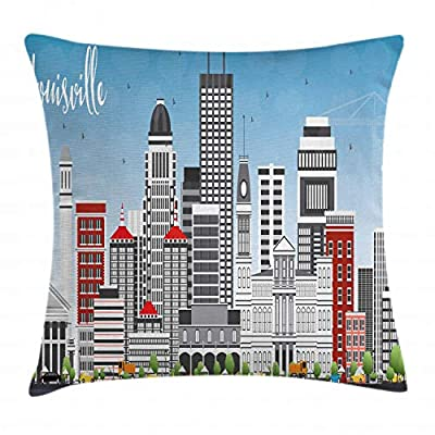 Lunarable Kentucky Throw Pillow Cushion Cover, Southern State in Cartoon Design Cars and Buildings Architecture Travel Theme, Decorative Square Accent Pillow Case, Multicolor