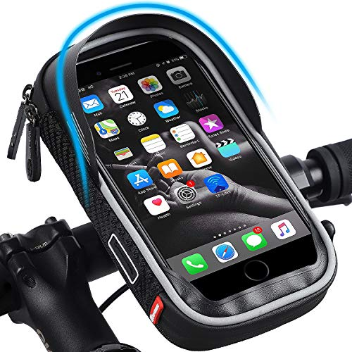 Bicycle Handlebar Bag, Waterproof Mobile Phone Bag, Highly Sensitive Touch Screen, 360-degree Rotation, Suitable for 3.5…
