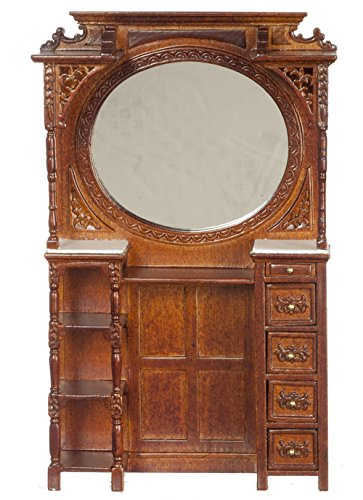 (Platinum Collection Dollhouse Miniature Victorian Barber cabinet Walnut #P6412)