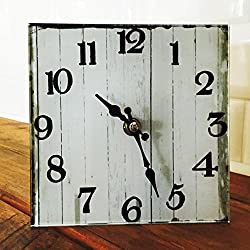 The Americana Heritage Home White Analog Clock, Quartz Movement, Glass and Metal, Easel Back Stand Included, 6 x 6 Inches, 1AA Battery Required, By Whole House Worlds