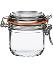 Le Parfait Super Terrine - 200ml French Glass Canning Jar w/Straight Body, Airtight Rubber Seal & Glass Lid, 7oz/Half Pint (Pack of 6) Stainless Wire
