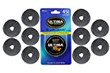 Ultima 45mm Rotary Cutter Blades - 10 Pack - Fits all rotary cutters including Fiskars, Olfa, Martelli and TrueCut - Cuts Quilting Fabric, Leather, and More!