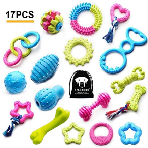SZKOKUHO 17 Packs Durable Pet Puppy Dog Chew Toys Set Puppy Teething Ball Toys Puppy Rope Dog Tug Toy Safety Design (Best Chew Toys For Chihuahuas)