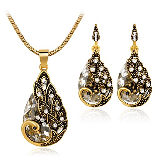 sameno Women Zircon Retro Peacock Necklace Earrings Wedding Party Bridal Jewelry (White)