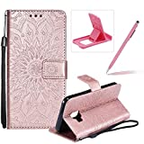 Wallet Case for Galaxy J2 Core,Strap Flip Case for Galaxy J2 Core,Herzzer Retro Elegant [Rose Gold Mandala Flower Pattern] Stand Magnetic Leather Case with Soft TPU