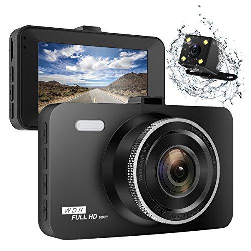 "ULU SD10 Car Dash Cam 3.0"" FHD 1080P Front + Rear 290° Super Wide Angle Car DVR Dashboard Camera Recorder with Sony Video Sensor,NTK96655 Chipset,32GB Card,Night Vision,G-Sensor,Loop Recording"