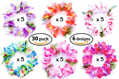 Luau Hawaiian Flower Leis Headbands 30 pcs, 6 designs, Moana Tropical Party Supplies Decorations (Buy Leis In Bulk)
