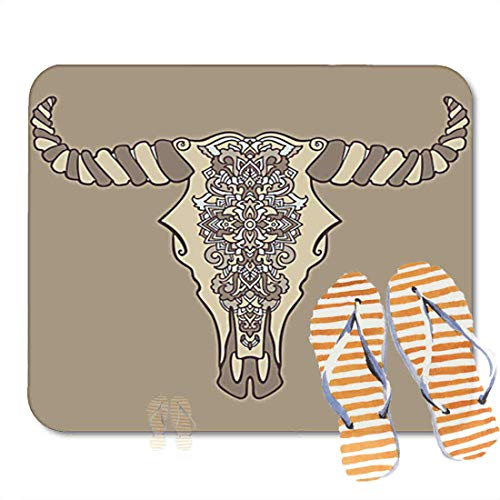 Bathroom Rugs for Bath Mat Mandala Tattoo Style Dead Cow Headative Ornament Buffalo Skull, Non Slip Bath Rug Velvet Foam Bathroom mat for Shower Floors 15.7X23.6Inch 2F267