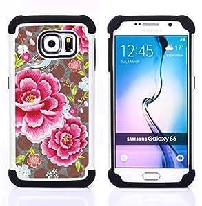 - flower petals polka dot pattern vintage/ H??brido 3in1 Deluxe Impreso duro Soft Alto Impacto caja de la armadura Defender - SHIMIN CAO - For Samsung Galaxy S6 G9200