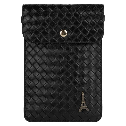 Paris Emblem Black Braid Womens Pouch Bag for Samsung Galaxy Mega 2 / Vasta