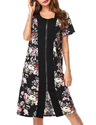 UUANG Women's Floral Printed Sleepwear Zip Up Duster Short Sleeve House Dress Nightgown(Black, Large)