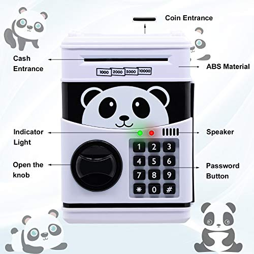 Electronic Piggy Bank, Cartoon Password ATM Savings Banks for Kids, Cute Animated Panda Piggy Bank for Girls, Auto Scroll Piggy Bank for Boys, ATM Piggy Bank for Real Money, Coin Bank Kids Fun Toy.
