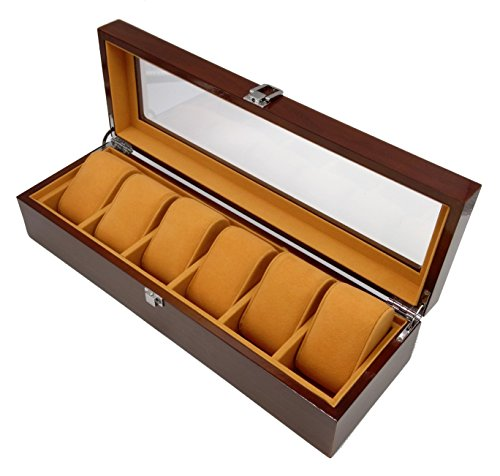 Plxixi Watch Case,6 Slots Wood Watch Box Display and Storage Organization Series with Glass Top (Brown, 6 Slots)