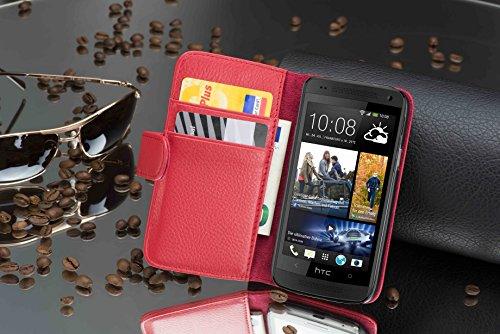 Cadorabo - Funda HTC ONE M4 MINI (1.Gen.) Book Style de Cuero Sintético en Diseño Libro - Etui Case Cover Carcasa Caja Protección con Tarjetero en AZUL-REAL ROJO-INFIERNO