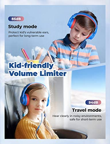 IClever HS19 Kids Headphones With Microphone, Over-Ear/On-Ear HD Stereo Headphones For Children, Volume Limiter 85/94dB, Sharing Function Foldable Headphones For School/iPad/PC/Cellphone/Chromebooks