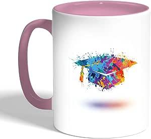 كوب سيراميك للقهوة، لون بنك، بتصميم قبعة تخرج
