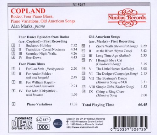 Copland: Rodeo; Four Piano Blues; Piano Variations; Old American Songs
