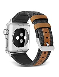 SKYLET Band Compatible Apple Watch,38mm/42mm Canvas Fabric Genuine Leather Strap Compatible Apple Watch Series 4 (40mm/44mm) Series 3 Serires 2 Series 1 Nike+(No Tracker)