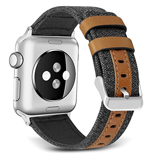 le Watch, 42mm Canvas Fabric with Genuine Leather with Metal Clasp for Apple Watch Series 2 Series 1 Series 3 Edition Nike+ (Smart Watch Not Included)[Black] (New Black Wet Look Buckle)