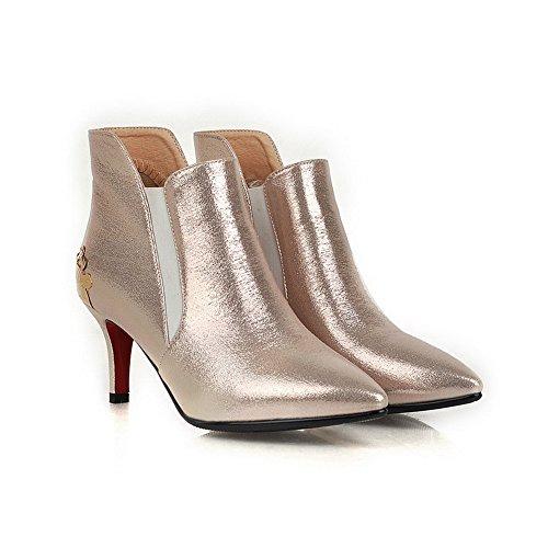 Allhqfashion Dames Pu Kitten-hakken Laarzen Met Metalen Afwerking, Goud, 36
