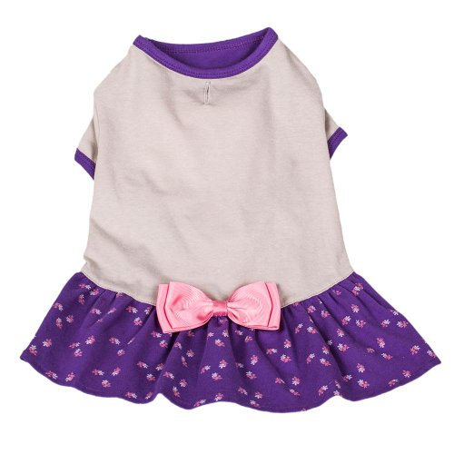 Blueberry Pet Orchid & Grey Bow Cotton Dog Dress, Back Length 12