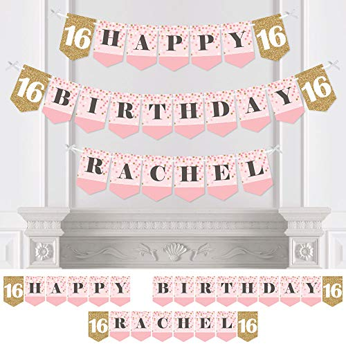 Big Dot of Happiness Custom Sweet 16 - Personalized 16th Birthday Party Bunting Banner & Decoration - Happy Birthday Custom Name Banner