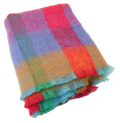 "row 70% Mohair & 30% Pure Lambswool Multicolor Plaid Super Soft Warm 72"" Long by 54"" Wide Fringed Made in Ireland ()"