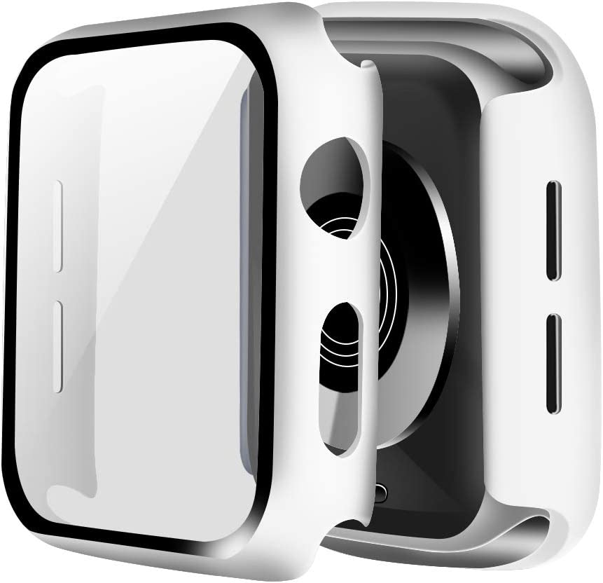 ONMROAD White Case Compatible with Apple Watch Series 3 42mm Screen Protector, Overall Protective Hard PC Bumper Case with Thin Tempered Glass Cover for iwatch Series 2 Series 1 Case
