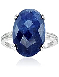 Sterling Silver Genuine Opaque Blue Sapphire Slice Solitaire Engagement Ring, Size 7