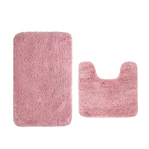 HomDSim Plush Bath Rug Set of 2 Soft Shaggy Bath Mat Microfiber Non-Slip Absorbent Bathroom Rug Carpet