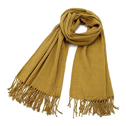 Winter Black Grey Crinkle Lurex Glitter Metallic Hijab Cashmere Scarf Foulard Fo,Yellow, ()