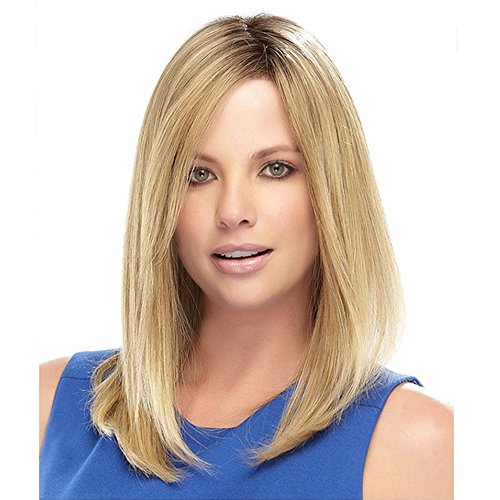 Beauty : ELIM Short Blonde Hair Wigs for Women Shoulder Length Women's Ombre Wig Silky Straight Heat Resistant Yaki Synthetic Hair Z101
