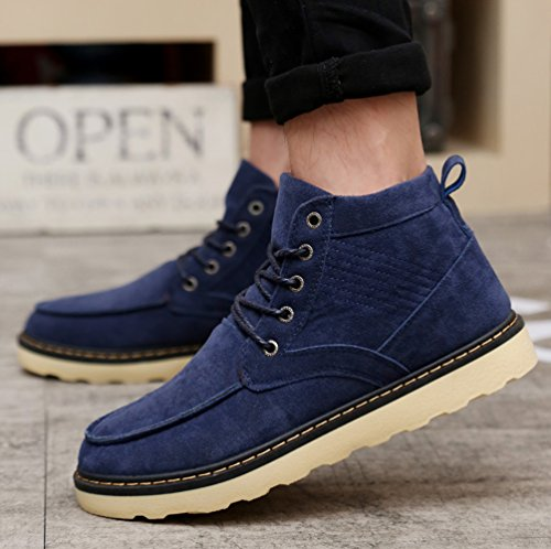 up Boots Fur Snow Lace Men's Blue Short Boots Chukka Desert Outdoor Ankle Lined Working by Winter Santimon w8FAxq