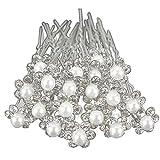 Hair Clips - SODIAL(R)20Pcs Wedding Bridal Pearl Flower Crystal Hair Pins Clips Bridesmaid (Silver)