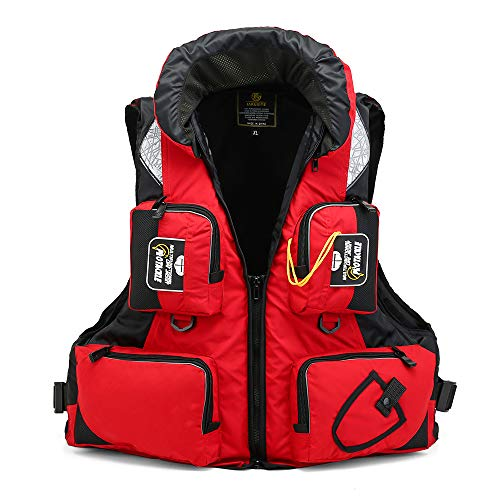 Star Human Fly Fishing Vest Fishing Safety Life Jacket Breathable Polyester Mesh Design Fishing Vest for Swimming Sailing Boating Kayak Floating with Whistle