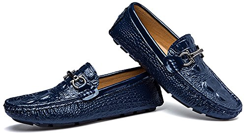 Go Tour Mens Driving Shoes 3D Embossed Leather Casual Slip-On Loafers Shoes With D Metal Buckle 1 Blue 1MpibN6
