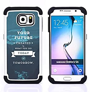 BullDog Case - FOR/Samsung Galaxy S6 G9200 / - / INSPIRATIONAL FUTURE TOMORROW BLUE TODAY /- H??brido Heavy Duty caja del tel??fono protector din??mico - silicona suave
